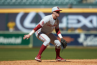 Oklahoma Sooners shortstop Brandon Zaragoza (4) on defense against the Missouri Tigers in game four of the 2020 Shriners Hospitals for Children College Classic at Minute Maid Park on February 29, 2020 in Houston, Texas. The Tigers defeated the Sooners 8-7. (Brian Westerholt/Four Seam Images)