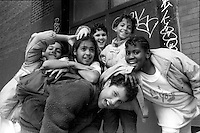 New York, NY - Students pose for the camera outside P.S. 33 in Chelsea