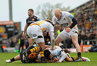 Wasps' Juan De Jongh scores his sides second try<br /> <br /> Photographer Bob Bradford/CameraSport<br /> <br /> Gallagher Premiership - Exeter Chiefs v Wasps - Sunday 14th April 2019 - Sandy Park - Exeter<br /> <br /> World Copyright © 2019 CameraSport. All rights reserved. 43 Linden Ave. Countesthorpe. Leicester. England. LE8 5PG - Tel: +44 (0) 116 277 4147 - admin@camerasport.com - www.camerasport.com
