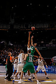 22nd March 2018, Wizink Centre, Madrid, Spain; Turkish Airlines Euroleague Basketball, Real Madrid versus Zalgiris Kaunas; Brandon Davies (Zalgiris Kaunas) jumps off at the start of the match with Walter Tavares (Real Madrid Baloncesto)