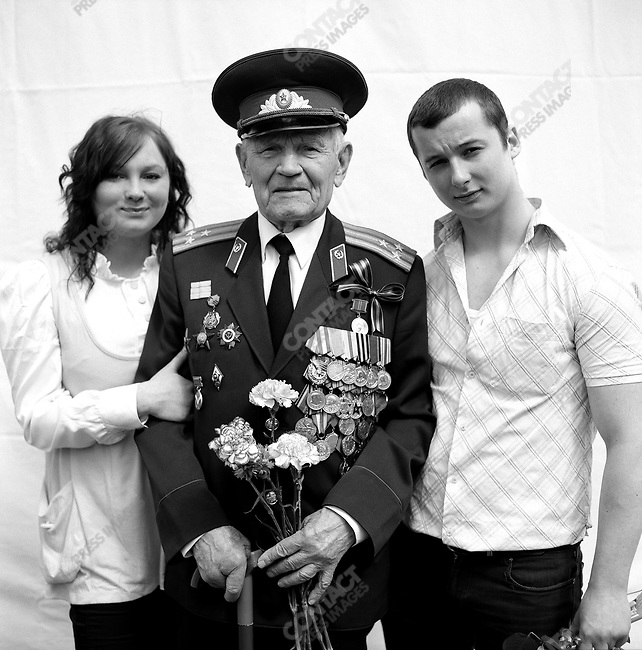 WWII veteran during Victory Day celebrations, Vitaly Gennadyevich Borovskikh, b. 1923, Officer, Infantry. Moscow, Russia, May 9, 2009