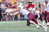 College Park, MD - September 22, 2018: Minnesota Golden Gophers tight end Ko Kieft (42) drops a pass during the game between Minnesota and Maryland at  Capital One Field at Maryland Stadium in College Park, MD.  (Photo by Elliott Brown/Media Images International)