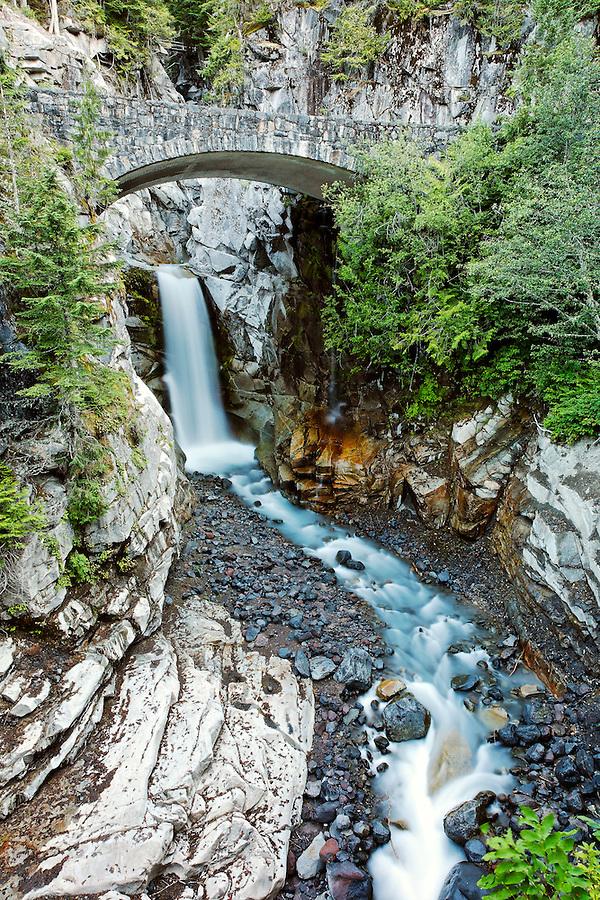 Van Trump Creek falling over Christine Falls, Mount Rainier National Park, Washington