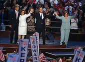 Boston, MA - July 29, 2004 -- Kerrys and Edwards families on the podium at the 2004 Democratic National Convention in Boston, Massachusetts on July 29, 2004..Credit: Ron Sachs / CNP