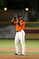 AZL Giants relief pitcher Weilly Yan (58) gets ready to deliver a pitch during a game against the AZL Angels on July 10, 2017 at Scottsdale Stadium in Scottsdale, Arizona. AZL Giants defeated the AZL Angels 3-2. (Zachary Lucy/Four Seam Images)