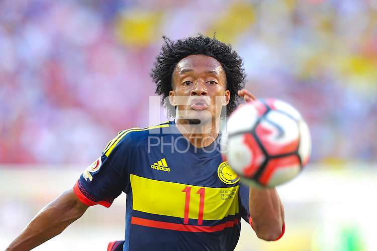 Santa Clara, CA - Friday June 03, 2016: Colombia midfielder Juan Cuadrado (11) during a Copa America Centenario Group A match between United States (USA) and Colombia (COL) at Levi's Stadium.