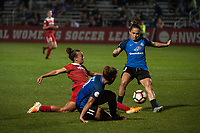 Kansas City, MO - Saturday May 27, 2017: Mallory Pugh, Desiree Scott, Lo'eau Labonta during a regular season National Women's Soccer League (NWSL) match between FC Kansas City and the Washington Spirit at Children's Mercy Victory Field.