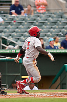 May 1 2010: Jermaine Curtis (5) of the Palm Beach Cardinals during a game vs. the Jupiter Hammerheads at Roger Dean Stadium in Jupiter, Florida. Palm Beach, the Florida State League High-A affiliate of the St. Louis Cardnials, won the game against Jupiter, affiliate of the Florida MArlins, by the score of 5-4  Photo By Scott Jontes/Four Seam Images