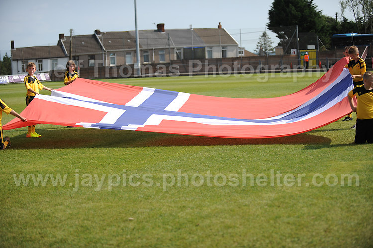 The Norweigan flag at the UEFA Womens U19 Championships at Stebonheath park Sunday 25th August 2013. All images are the copyright of Jeff Thomas Photography-www.jaypics.photoshelter.com-07837 386244-Any use of images must be authorised by the copyright owner.