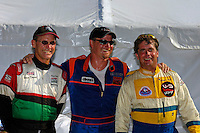 Winner J.W. Myers (center) with Steve David (3rd,L) and Jimmy King (2nd,R)..Madison Regatta, Madison Indiana July 3, 2005.Photo Credit: ©F.Peirce Williams 2005