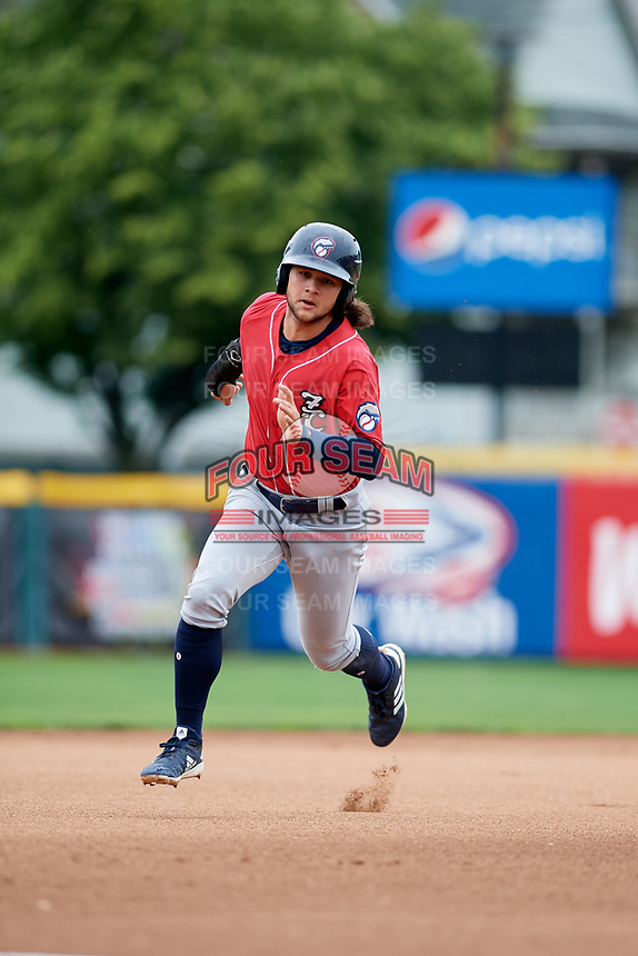 New Hampshire Fisher Cats shortstop Bo Bichette (5) runs the bases during a game against the Erie SeaWolves on June 20, 2018 at UPMC Park in Erie, Pennsylvania.  New Hampshire defeated Erie 10-9.  (Mike Janes/Four Seam Images)