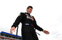 Sept. 18, 2011; Concord, NC, USA: NHRA top fuel dragster driver David Grubnic during the O'Reilly Auto Parts Nationals at zMax Dragway. Mandatory Credit: Mark J. Rebilas-