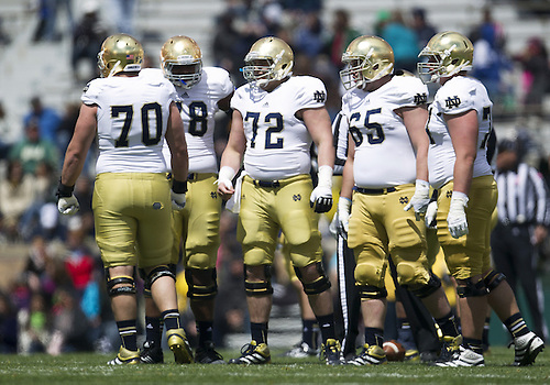 April 20, 2013: Notre Dame Fighting Irish offensive line during the Notre Dame Blue-Gold Spring game at Notre Dame Stadium in South Bend, Indiana.  The Defense topped the Offense by a score of 54-43.