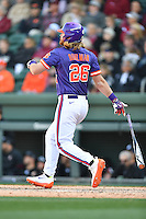 Designated hitter Reed Rohlman (26) of the Clemson Tigers triples in the Reedy River Rivalry game against the South Carolina Gamecocks  on Saturday, March 4, 2017, at Fluor Field at the West End in Greenville, South Carolina. Clemson won, 8-7. (Tom Priddy/Four Seam Images)
