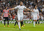 Real Madrid's Francese forward Karim Benzema during the Spanish league football match Real Madrid vs Athletic Club Bilbao at the Santiago Bernabeu stadium in Madrid on October 5, 2014.  PHOTOCALL3000/ DP
