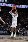 Brandon Childress (0) of the Wake Forest Demon Deacons attempts a three-point shot during first half action against the Notre Dame Fighting Irish at the LJVM Coliseum on February 24, 2018 in Winston-Salem, North Carolina.  The Fighting Irish defeated the Demon Deacons 76-71.  (Brian Westerholt/Sports On Film)