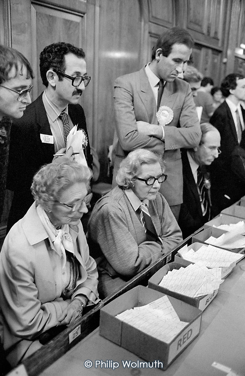 Anxious Labour, Lib-Dem and Tory party members watch the Westminster City Council ballot count at Porchester Hall during the close-run 1986 local election.