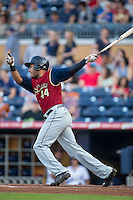 Jonathan Galvez (44) of the Scranton/Wilkes-Barre RailRiders follows through on his swing against the Durham Bulls at Durham Bulls Athletic Park on May 15, 2015 in Durham, North Carolina.  The RailRiders defeated the Bulls 8-4 in 11 innings.  (Brian Westerholt/Four Seam Images)