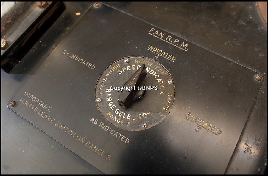 BNPS.co.uk (01202 558833)<br /> Pic: PhilYeomans/BNPS<br /> <br /> 40 kts fan switch.<br /> <br /> The coldest of Cold War relics has opened to the public after years of secrecy. <br /> <br /> Barnes Wallis's amazing Stratosphere Chamber was built at Brooklands in 1947 to test aircraft in high altitude conditions of flight.<br /> <br /> Constructed from the hull of a nuclear submarine the 340 ton structure could replicate temperatures down to -60 centigrade at 60,000 feet, as well as blasting rain, sleet or snow at 40 kts through the sealed chamber.<br /> <br /> As well as aircraft the facility was also used to test naval equipment in freezing arctic conditions, and even the effects of icing on trawler rigging.<br /> <br /> The gigantic structure, containing the cockpit of a Viscount passenger aircraft, has now been spruced up and is open to the public at the Brooklands Museum in Weybridge.