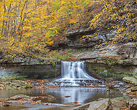 McCormick's Creek State Park, IN: McCormick's Creek Falls in autumn. This state park is the oldest in Indiana; established in 1916.