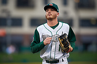 Fort Wayne TinCaps center fielder Grant Little (1) jogs off the field between innings of a Midwest League game against the Quad Cities River Bandits at Parkview Field on May 3, 2019 in Fort Wayne, Indiana. Quad Cities defeated Fort Wayne 4-3. (Zachary Lucy/Four Seam Images)