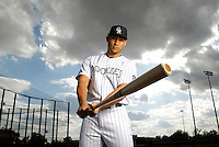 SCOTTSDALE, AZ - FEBRUARY 21: Carlos Gonzalez #5 of the Colorado Rockies poses during a portrait session on February 21, 2013 in Scottsdale, Arizona. (Photo by Chris Covatta/MLBPA via Getty Images) *** Local Caption *** Carlos Gonzalez