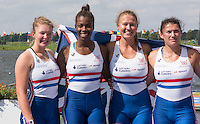 Rotterdam. Netherlands. GBR JW4X. Annabel Stevens, Sheyi Blackett, Lola Anderson and Lucy Glover.&nbsp; 2016 JWRC, U23 and Non Olympic Regatta. {WRCH2016}  at the Willem-Alexander Baan.   Sunday  28/08/2016 <br /> <br /> [Mandatory Credit; Peter SPURRIER/Intersport Images]