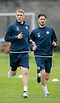 St Johnstone Training&hellip;07.09.17<br />David Wotherspoon pictured with Greg Gurst during training at McDiarmid Park ahead of the home game against Hibs<br />Picture by Graeme Hart.<br />Copyright Perthshire Picture Agency<br />Tel: 01738 623350  Mobile: 07990 594431