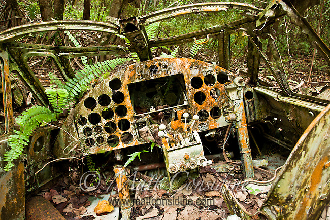 Cockpit of Old Plane, Yap Micronesia (Photo by Matt Considine - Images of Asia Collection)