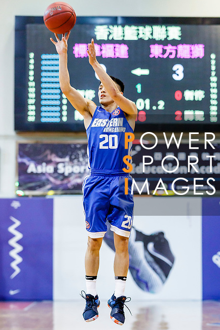 Ng Chung Tsun #20 of Eastern Long Lions tries to score against the Fukien during the Hong Kong Basketball League game between Fukien and Eastern Long Lions at Southorn Stadium on June 19, 2018 in Hong Kong. Photo by Yu Chun Christopher Wong / Power Sport Images