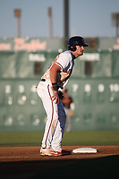 Sam Hilliard (25) of the Lancaster JetHawks leads off of second base during a game against the Modesto Nuts at The Hanger on May 11, 2017 in Lancaster, California. Lancaster defeated Modesto, 6-0. (Larry Goren/Four Seam Images)