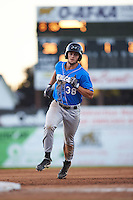 Hudson Valley Renegades third baseman Jim Haley (38) running the bases during a game against the Batavia Muckdogs on August 2, 2016 at Dwyer Stadium in Batavia, New York.  Batavia defeated Hudson Valley 2-1.  (Mike Janes/Four Seam Images)
