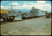 Flanger &amp; derrick - Alamosa?.  Tank in background.<br /> D&amp;RGW  Alamosa ?, CO