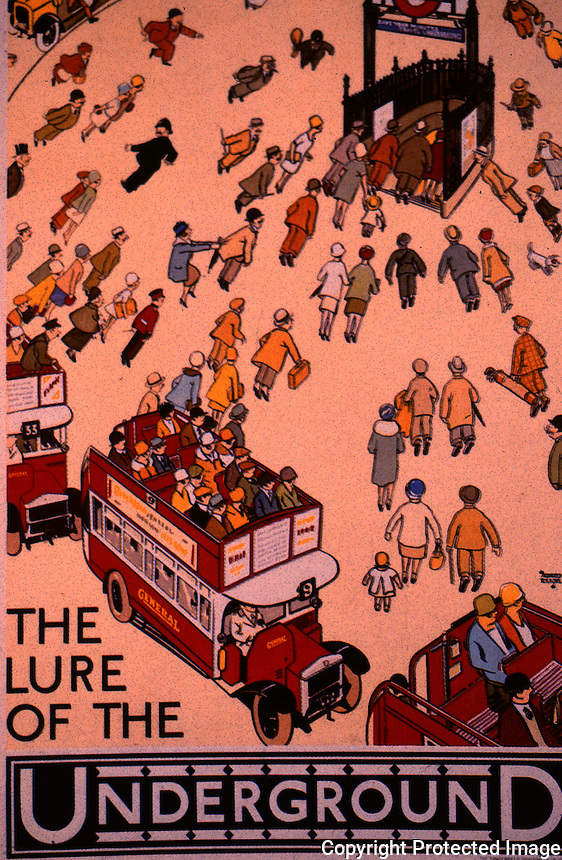 """London: Underground--Poster 1927. """"The Lure of the Underground"""", Alfred Leete.  Photo '91."""