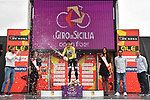 Isaac Canton Serrano (ESP) Kometa Cycling Team retains the mountains Maglia Verde Pistacchio on the podium at the end of Stage 2 of Il Giro di Sicilia running 236km from Capo d'Orlando to Palermo, Italy. 4th April 2019.<br /> Picture: LaPresse/Fabio Ferrari | Cyclefile<br /> <br /> <br /> All photos usage must carry mandatory copyright credit (© Cyclefile | LaPresse/Fabio Ferrari)