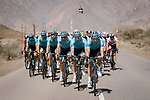 The peloton with Astana riders Davide Ballerini (ITA), Zhandos Bizhigitov (KAZ), Yevgeniy Gidich (KAZ), Hugo Houle (CAN), Magnus Cort Nielsen (DEN) and Artyom Zakharov (KAZ) setting the pace during Stage 5 of the 10th Tour of Oman 2019, running 152km from Samayil to Jabal Al Akhdhar (Green Mountain), Oman. 20th February 2019.<br /> Picture: ASO/P. Ballet | Cyclefile<br /> All photos usage must carry mandatory copyright credit (&copy; Cyclefile | ASO/P. Ballet)