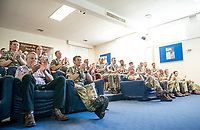 Picture by Allan McKenzie/SWpix.com - 14/06/2018 - Commercial - Rugby League - Rugby League World Cup 2021 Ambassador Unveil, Marne Barracks, Catterick, England - Some of James Simpson's old colleagues look on during his Q & A session.
