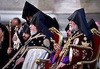 Pope Francis Supreme Patriarch and Catholicos of All Armenians, Karekin II Nersissian (L) and Aram I Kechichian (Rn the Sunday's Mass in the Armenian Catholic rite at Peter's Basilica  at the Vatican, on April 12, 2015.