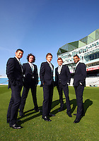 PICTURE BY VAUGHN RIDLEY/SWPIX.COM - Cricket - County Championship Div 2 - Yorkshire County Cricket Club 2012 Media Day - Headingley, Leeds, England - 29/03/12 - The Yorkshire CCC players, coaches and management gather on the pitch at Headingley for the 2012 photo call.  Martyn Moxon, Ryan Sidebottom, Joe Root, Jonny Bairstow and Ajmal Shahzad model their new Sterling suits.