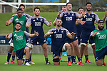 Haka practice (front) Jamison Gibson-Park, Elliot Dixon, Joe Royal, (middle from left) Joe Edwards, Tawera Kerr-Barlow, Ben May, Akira Ioane. Maori All Blacks Train. Suva, Fiji. July 9 2015. Photo: Marc Weakley