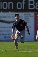 State College Spikes outfielder Michael Pritchard (5) tracks a shallow fly ball during a game against the Batavia Muckdogs August 23, 2015 at Dwyer Stadium in Batavia, New York.  State College defeated Batavia 8-2.  (Mike Janes/Four Seam Images)