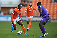 Blackpool's Sullay Kaikai under pressure from Maidstone United's George Elokobi<br /> <br /> Photographer Kevin Barnes/CameraSport<br /> <br /> Emirates FA Cup Second Round - Blackpool v Maidstone United - Sunday 1st December 2019 - Bloomfield Road - Blackpool<br />  <br /> World Copyright © 2019 CameraSport. All rights reserved. 43 Linden Ave. Countesthorpe. Leicester. England. LE8 5PG - Tel: +44 (0) 116 277 4147 - admin@camerasport.com - www.camerasport.com