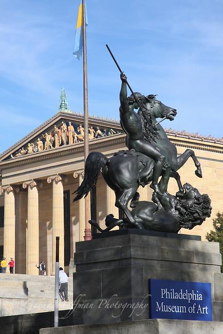 Philadelphia Museum of Art, statue, exterior, PA