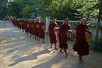 Monks early morning in Bagan Town Myanmar
