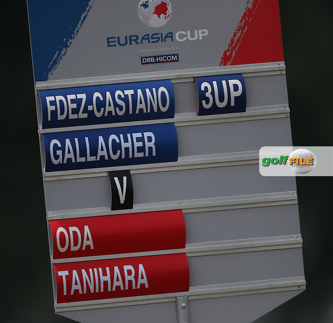 Up to the 11th, Team Europe's Gonzalo Fernandez-Castano (ESP) and Stephen Gallacher (SCO) have a commanding lead of their match during the second day Foursome matches at the 2014 EurAsia Cup presented by DRB-Hicom, at the Glenmarie Golf & Country Club, Kuala Lumpur, Malaysia. Picture:  David Lloyd / www.golffile.ie