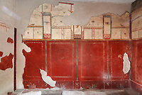 Room used as an office for checking in and out clothes, decorated with frescoes in the Fourth Style of Roman wall painting, 60-79 AD, with red panels with decorative borders above a lower red frieze, and architectural motifs with garlands and bird life on a white ground above, in the Fullonica di Stefanus, or Fullonica of Stephanus, a laundry in Pompeii, Italy. Pompeii is a Roman town which was destroyed and buried under 4-6 m of volcanic ash in the eruption of Mount Vesuvius in 79 AD. Buildings and artefacts were preserved in the ash and have been excavated and restored. Pompeii is listed as a UNESCO World Heritage Site. Picture by Manuel Cohen