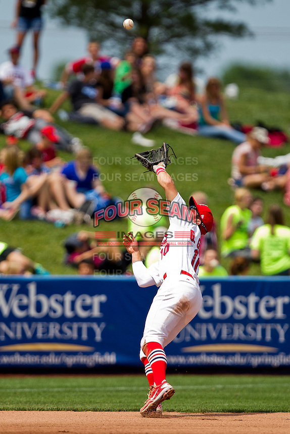 Greg Garcia (10) of the Springfield Cardinals catches a fly ball to the infield during a game against the Arkansas Travelers at Hammons Field on May 8, 2012 in Springfield, Missouri. (David Welker/ Four Seam Images)