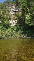 NWA Democrat-Gazette/FLIP PUTTHOFF <br /> An Elk River bluff seen Sept. 5 2019 above the clear water.