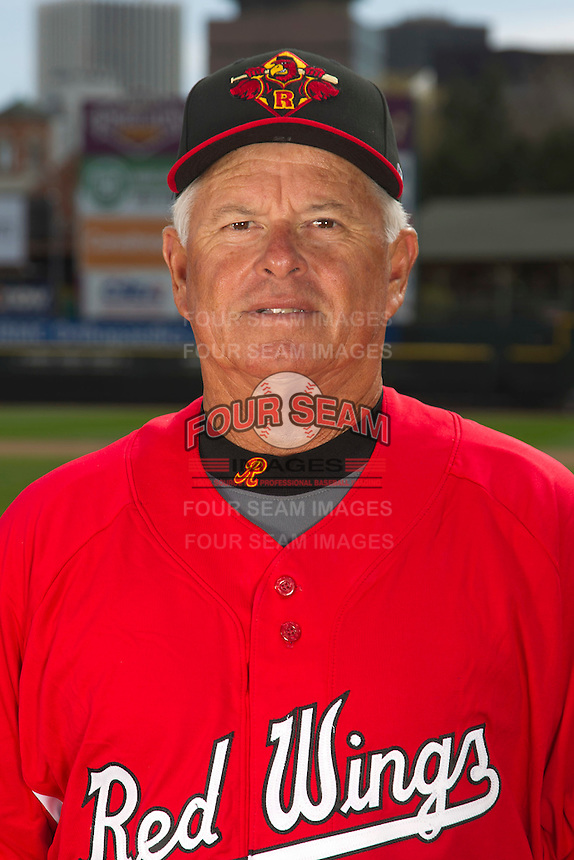 Rochester Red Wings pitching coach Bobby Cuellar #18 poses for a photo during media day at Frontier Field on April 3, 2012 in Rochester, New York.  (Mike Janes/Four Seam Images)