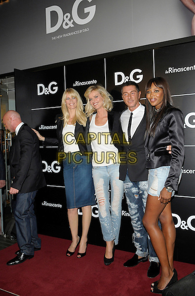 DOMENICO DOLCE, CLAUDA SCHIFFER, EVA HERZIGOVA, STEFANO GABBANA & NAOMI CAMPBELL .attending the D&G Perfumes Collection Launch at La Rinascente Piazza Duomo during Milan Fashion Week, Milan, Italy, 25th September 2009.full length models jeans denim black jackets blazer skirt white top t-shirt ripped destroyed distressed peep toe patent shoes heels .CAP/RD .©Richard Dean/Capital Pictures